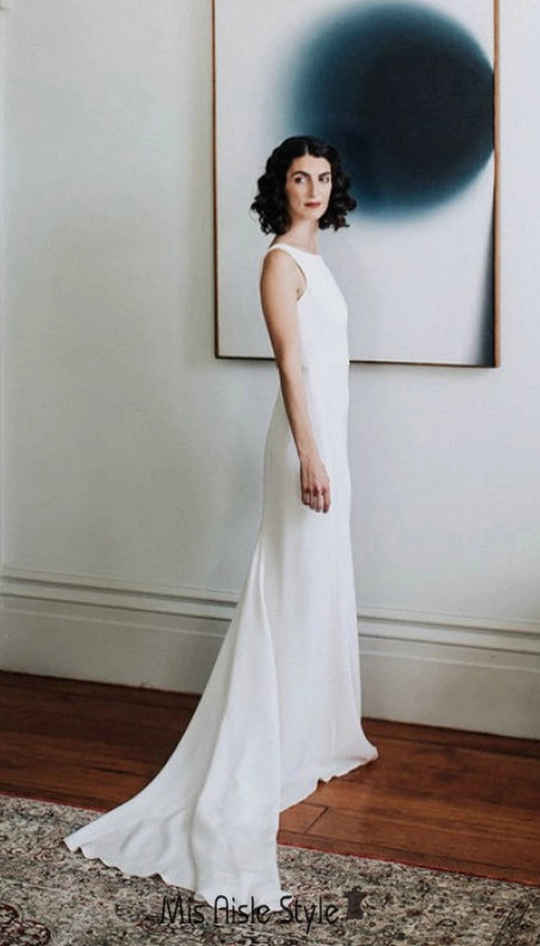 Simple Low Back wedding dress