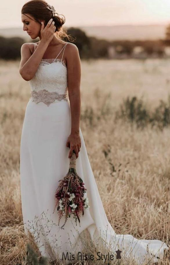 Simple Spaghetti Straps Boho Wedding Dress