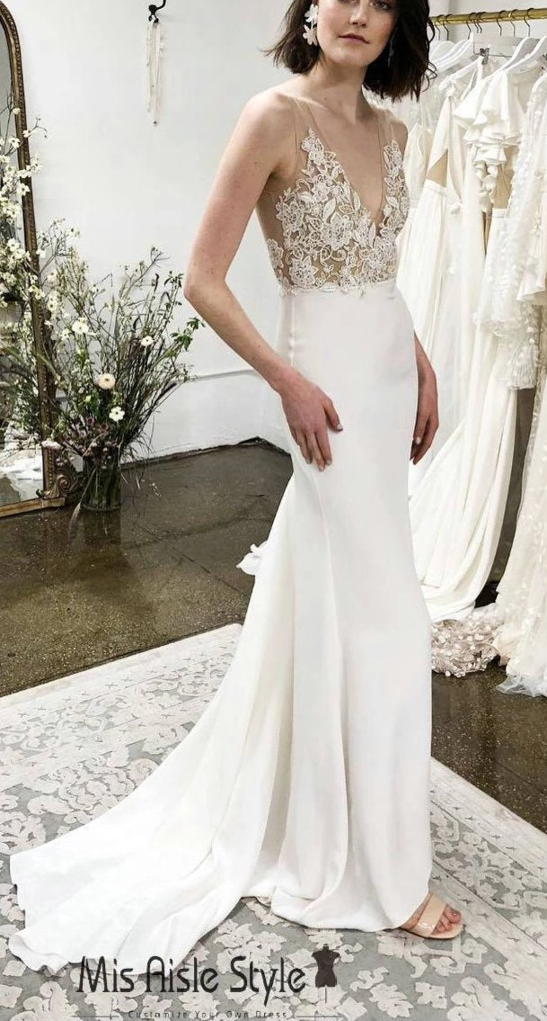 Fitted Deep V-back Sheer Lace Wedding Dress