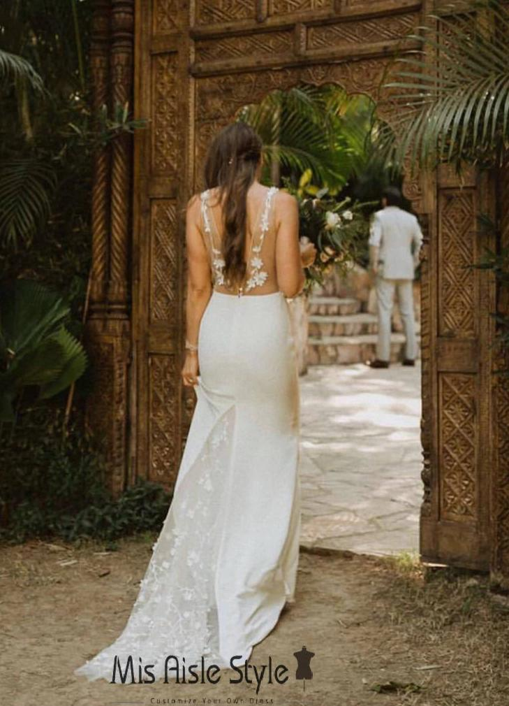 sheer boho wedding dress