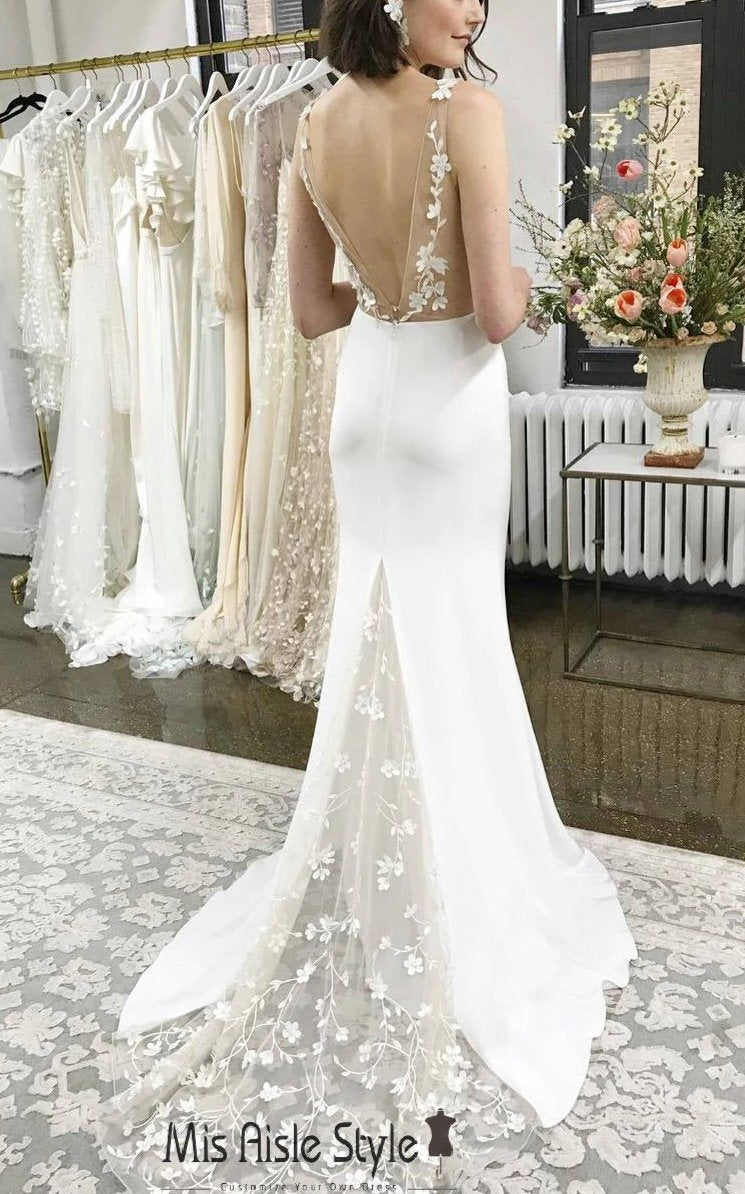 Sexy Low V-Back Wedding Dress