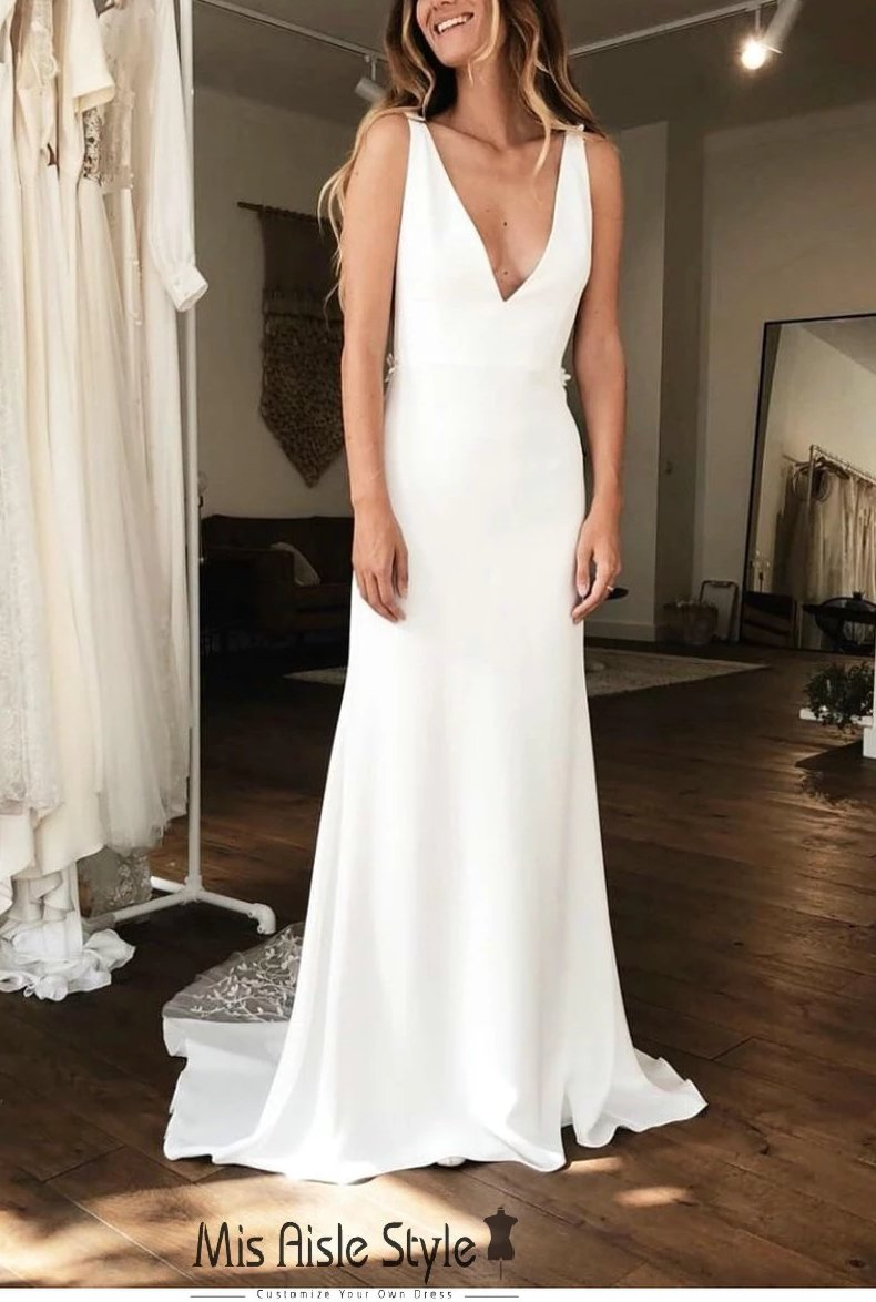 Sexy Low V-Back Fitted Wedding Dress
