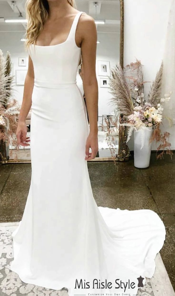 Fitted Square Neckline Wedding Dress