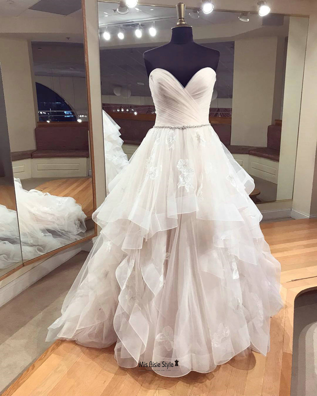 Ball Gown Tiered Skirt Wedding Dress