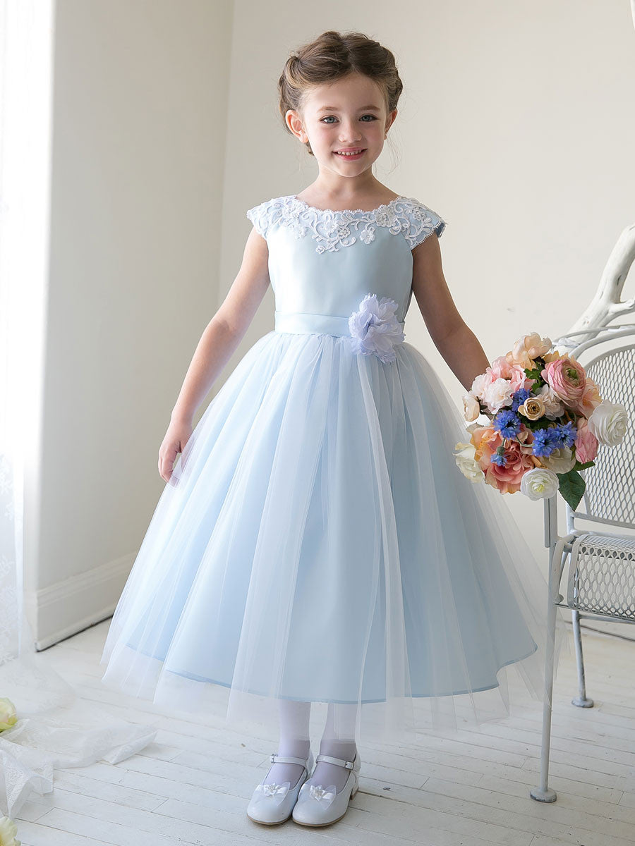 Light Blue Girls Birthday Party Dress
