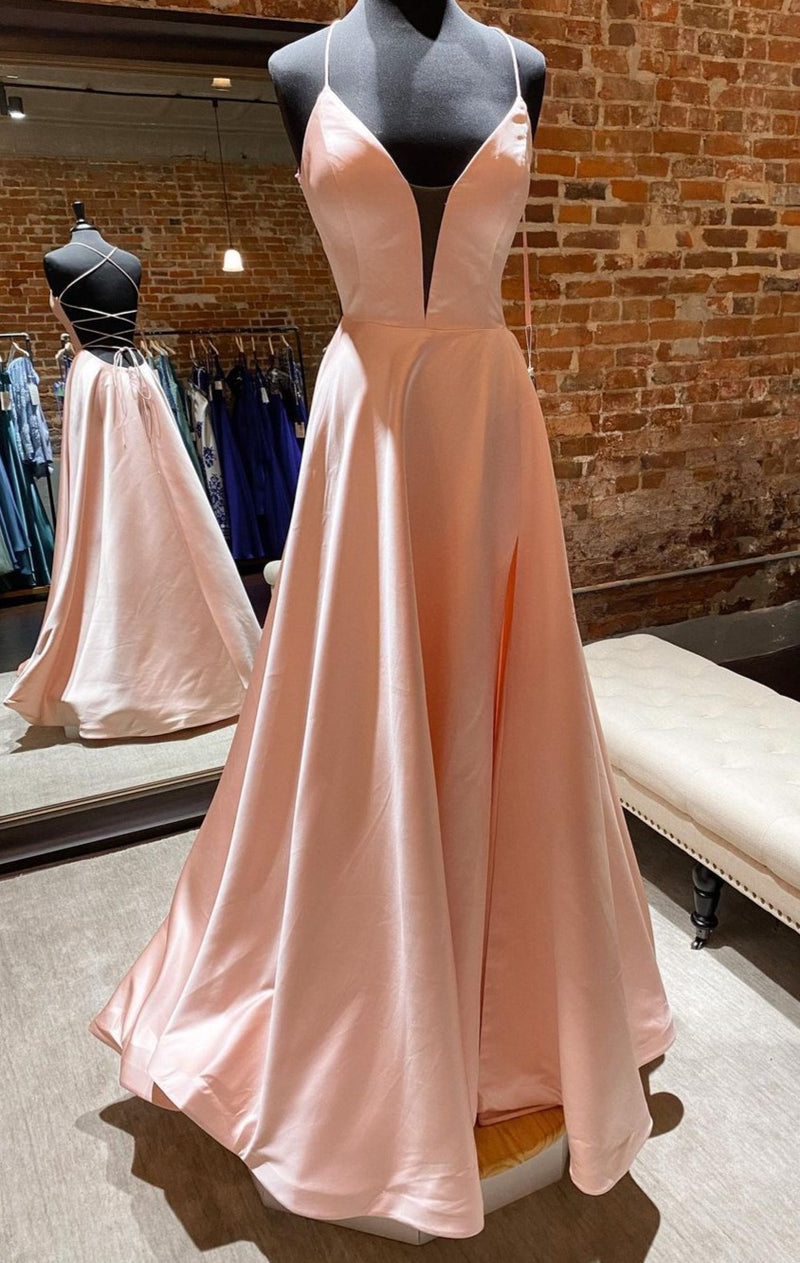 Sexy Slit nude prom dress