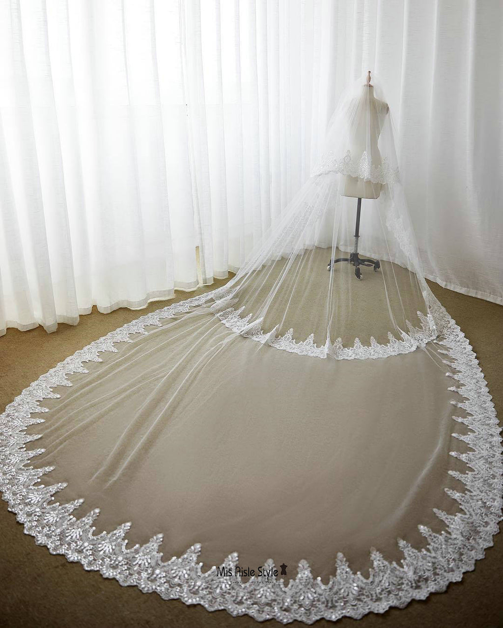Free Shipping Cathedral Length 3 layers Lace Wedding Veil