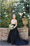 Modest Long Sleeve Navy Blue Wedding Dress
