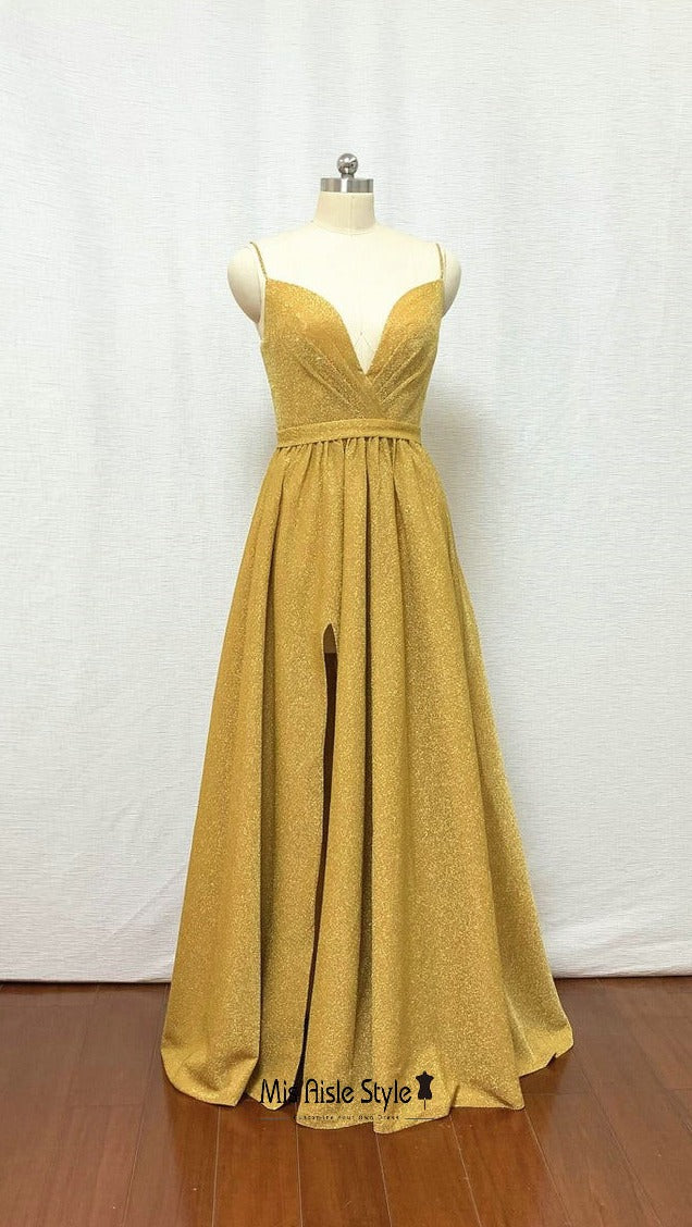 dusty yellow prom dress