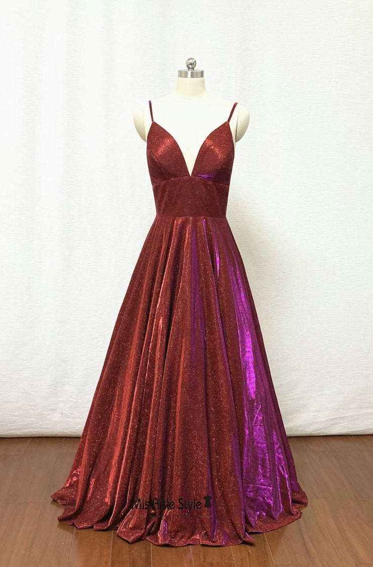 sparkle burgundy prom dress