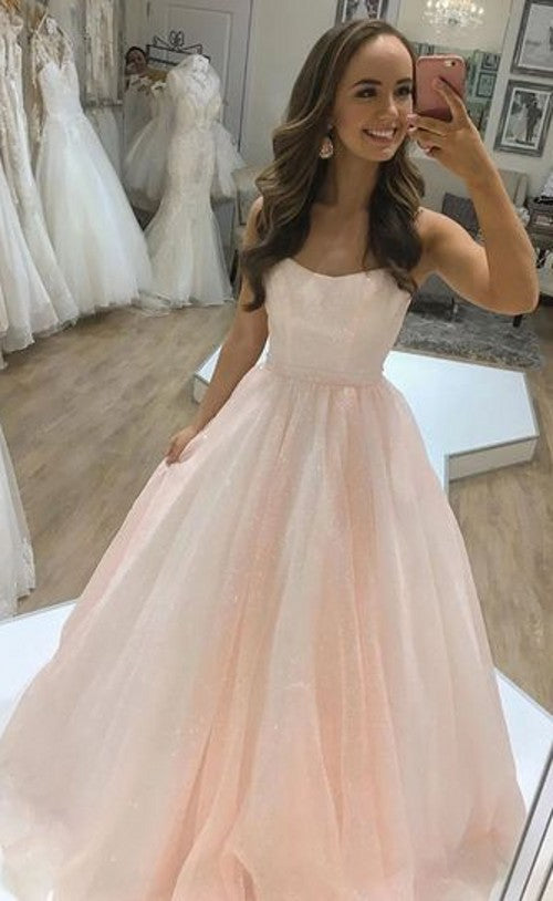 Double Straps Blush Sparkle Prom Dress