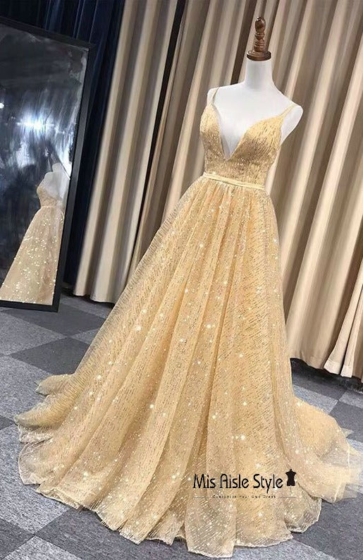 sparkle gold prom dress