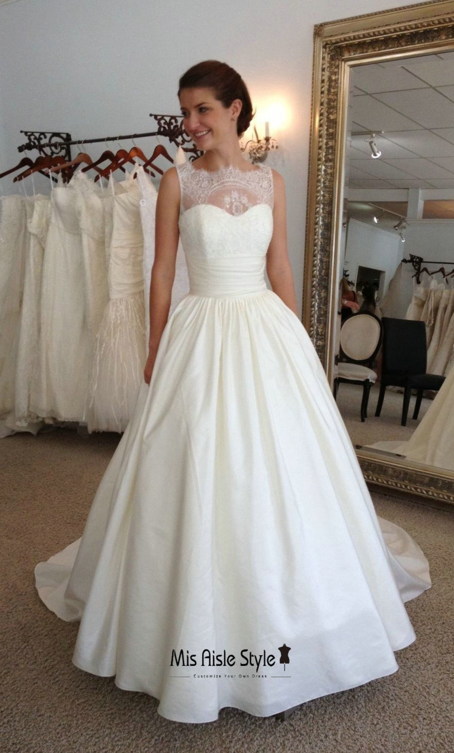 Ball Gown High Neck Wedding Dress with Pocket