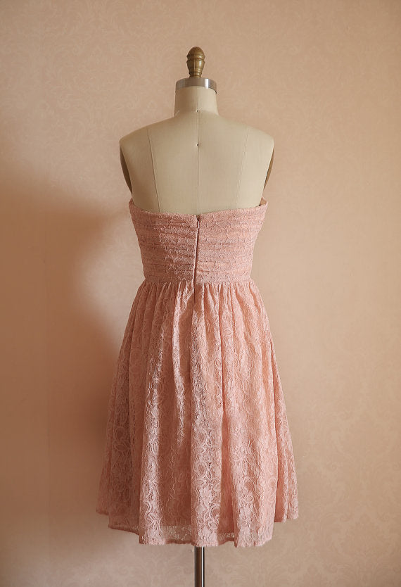 blush pink lace bridesmaid dress