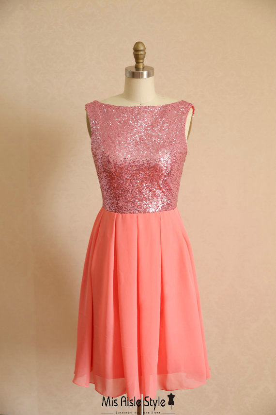 short coral party dress