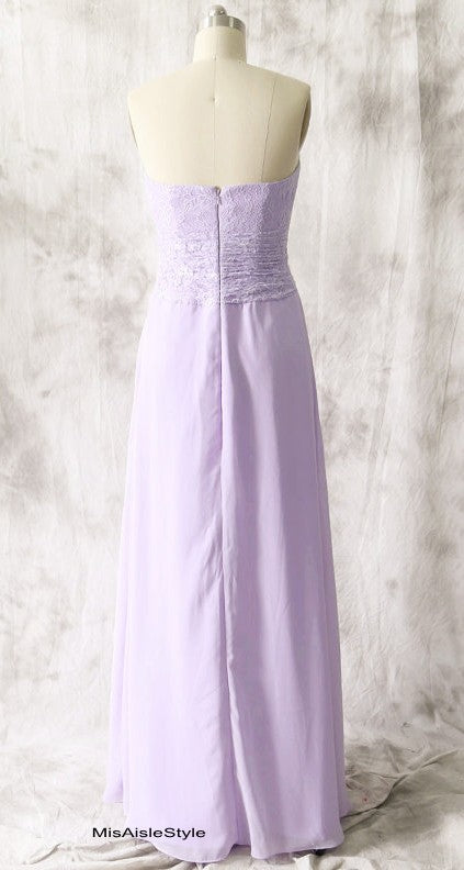 Strapless Lilac Bridesmaid Dress