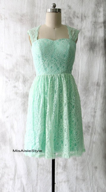 Short Mint Lace Bridesmaid Dress