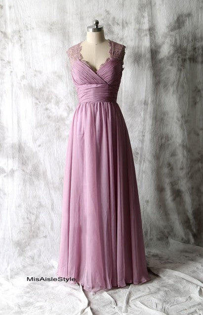 Long Vintage Lace Purple Bridesmaid Dress