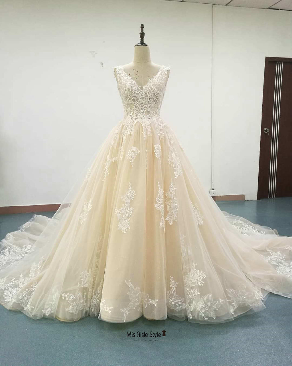 Ball Gown Champagne V-neckline Wedding Dress
