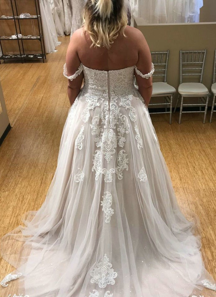 blush plus size wedding dress