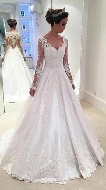 A-line Long Sleeves Illusion Back Lace Wedding Dress