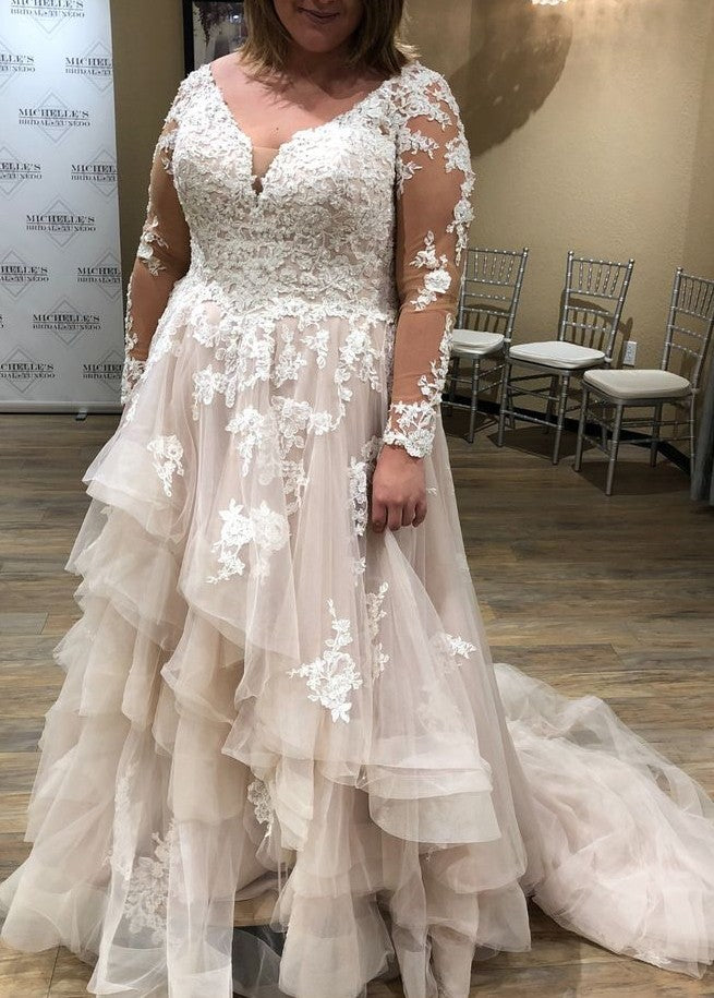 plus size blush wedding dress