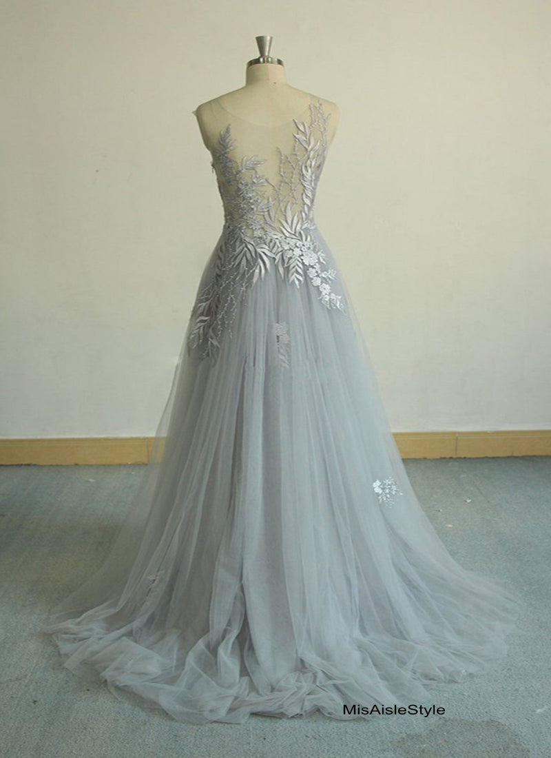 silver wedding dress