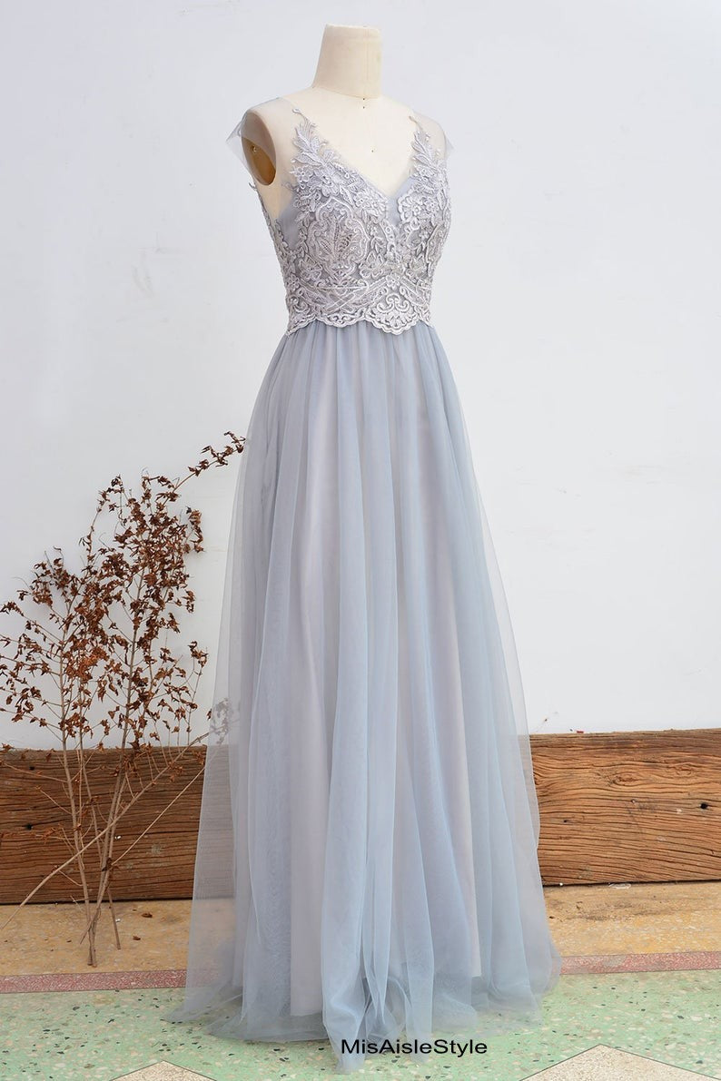 silver lace bridesmaid dress