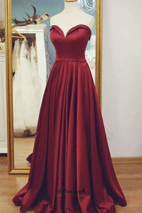 long burgundy prom dress