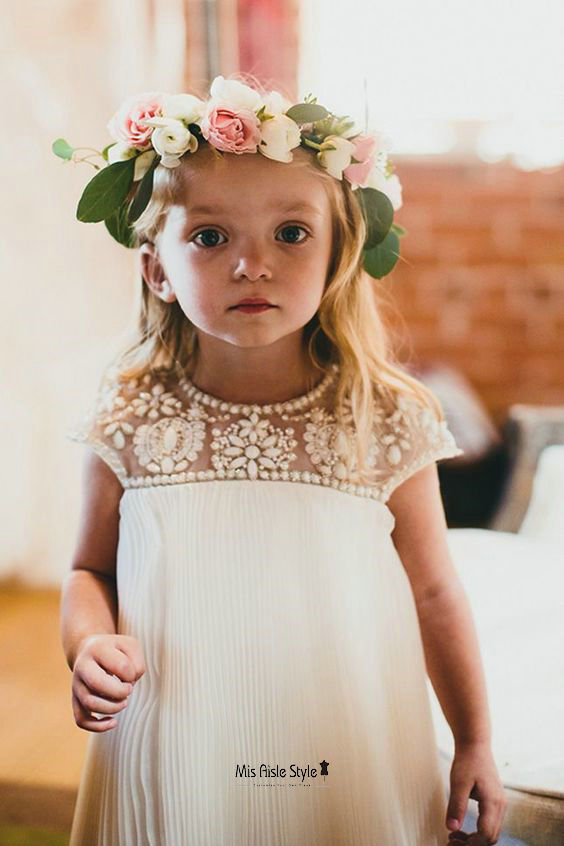 white beaded flower girl dress