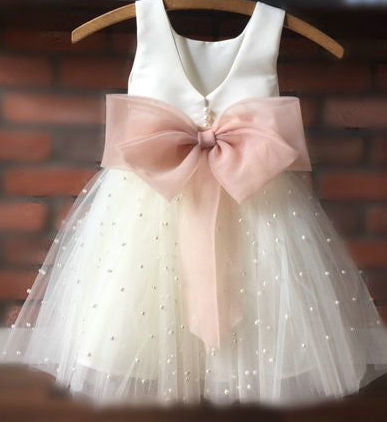 pearl skirt flower girl dress