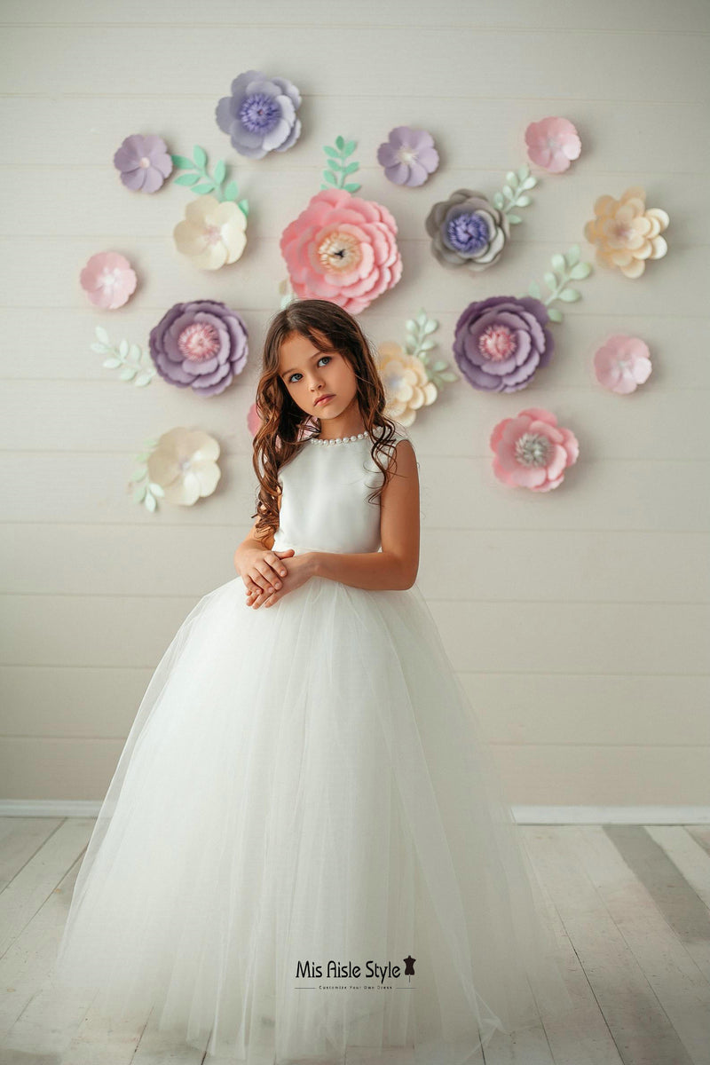 ball gown tulle skirt flower girl dress