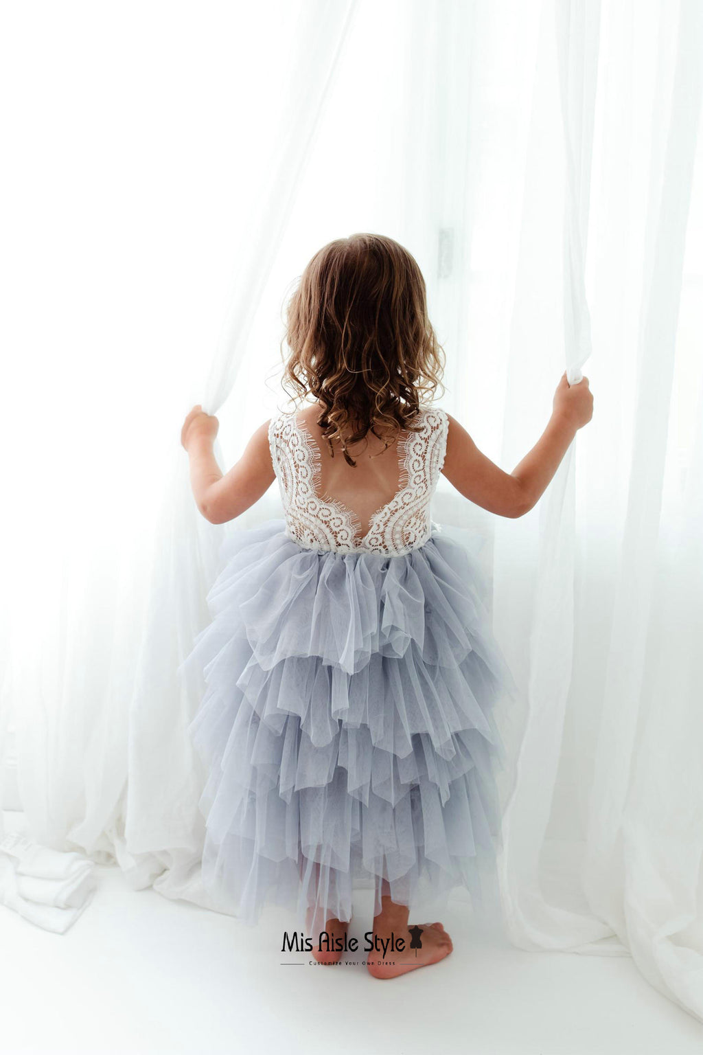 tiered skirt flower girl dress