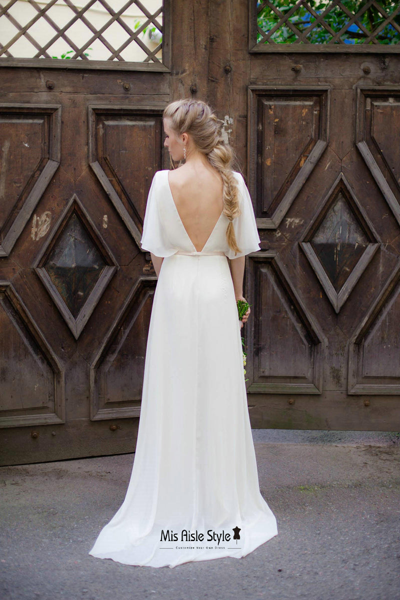 sexy v-back wedding dress