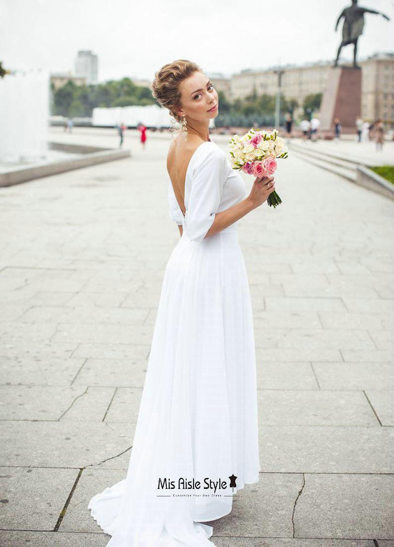 half sleeves v-back wedding dress