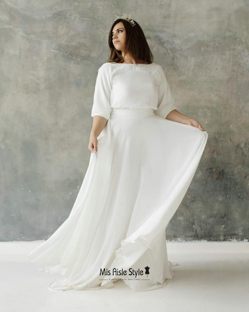 plus size boho wedding dress