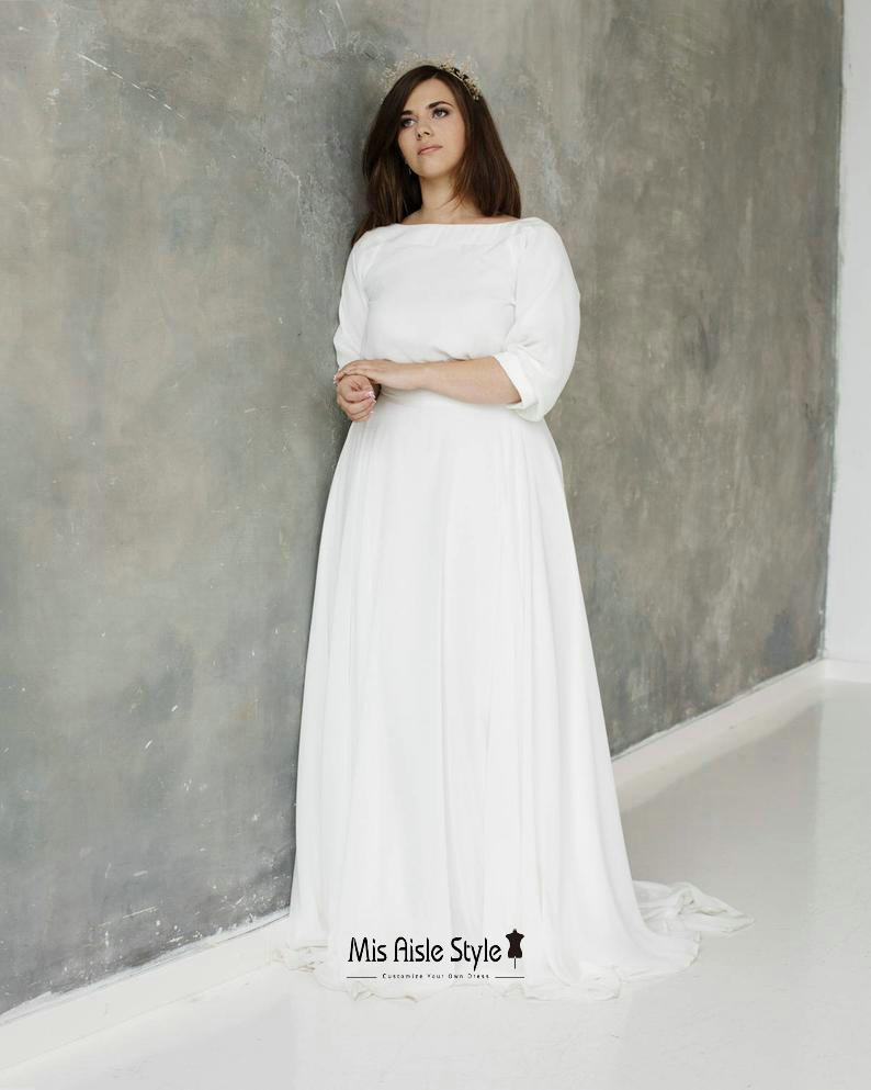 half sleeves plus size wedding dress