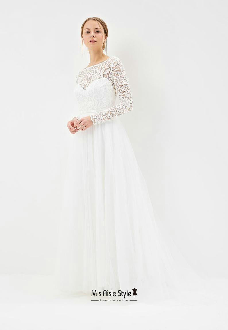 a line long sleeves wedding dress