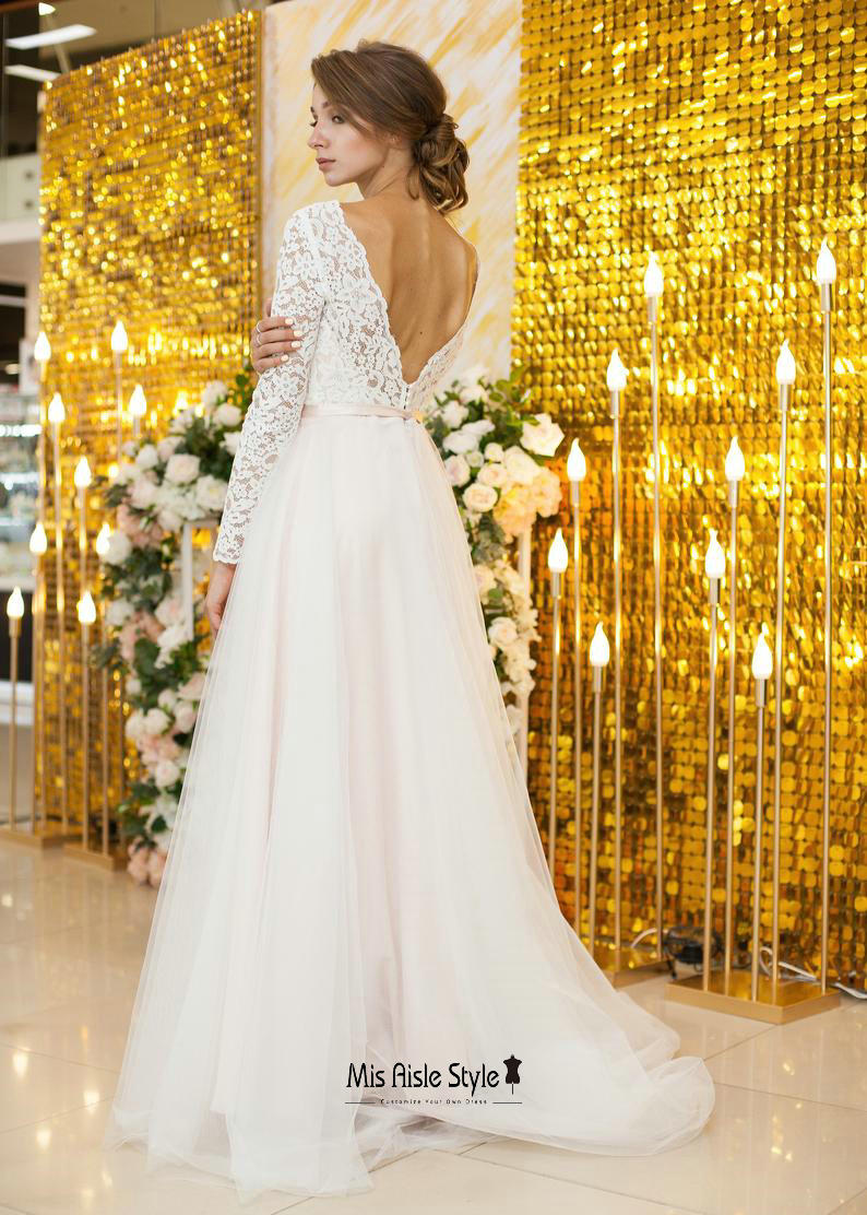 v-back long sleeves wedding dress