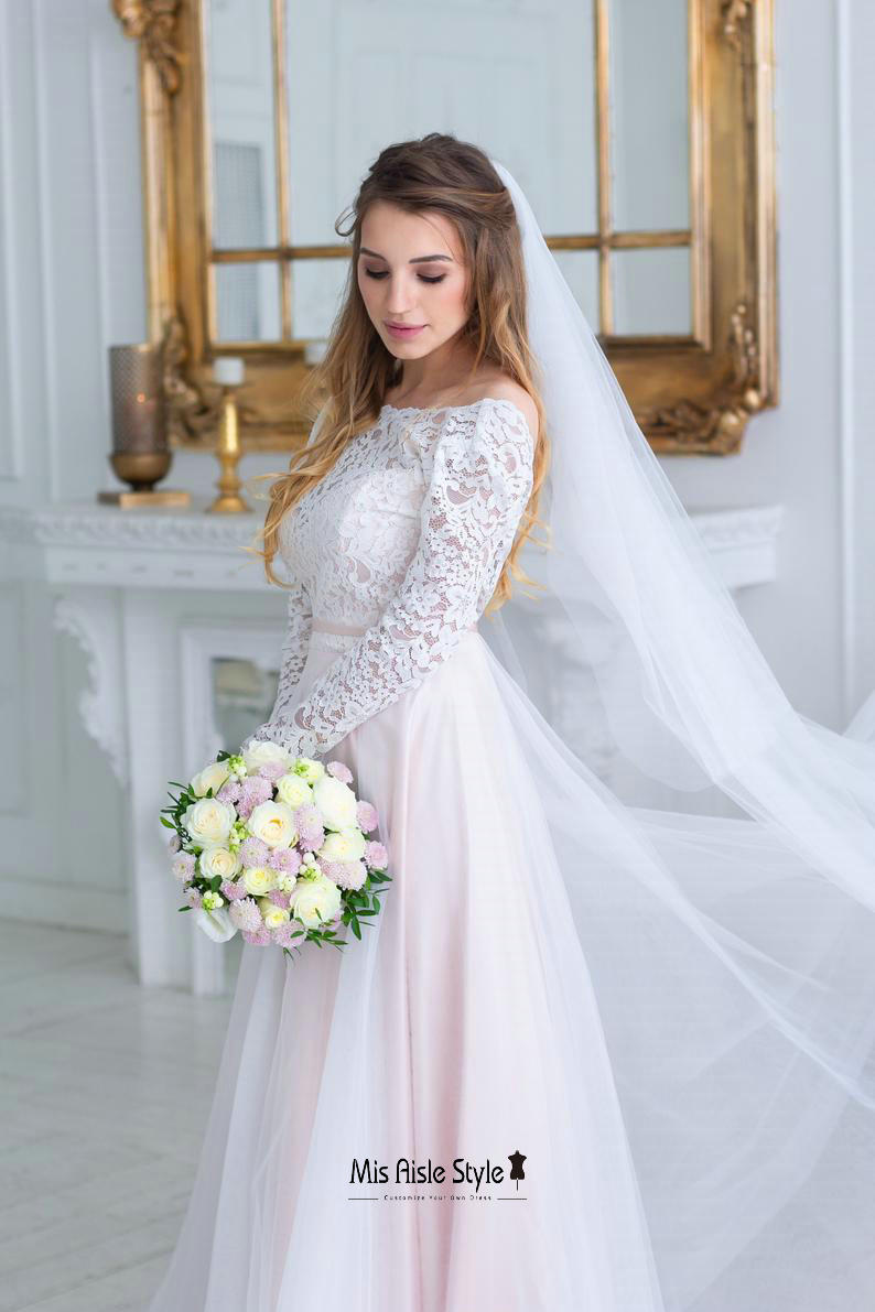 long sleeves blush wedding dress