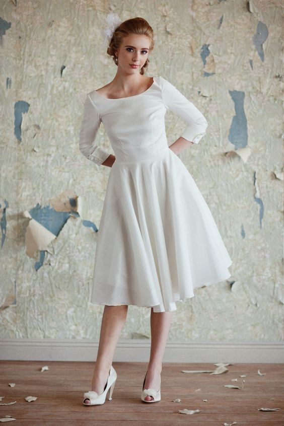 short long sleeve wedding dress