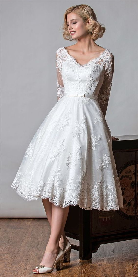 short long sleeve lace wedding dress