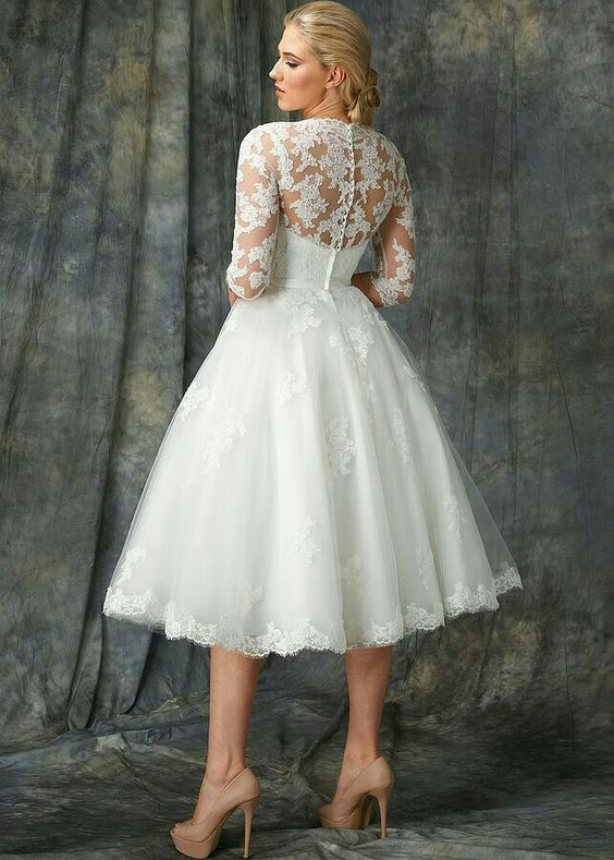 ball gown short wedding dress