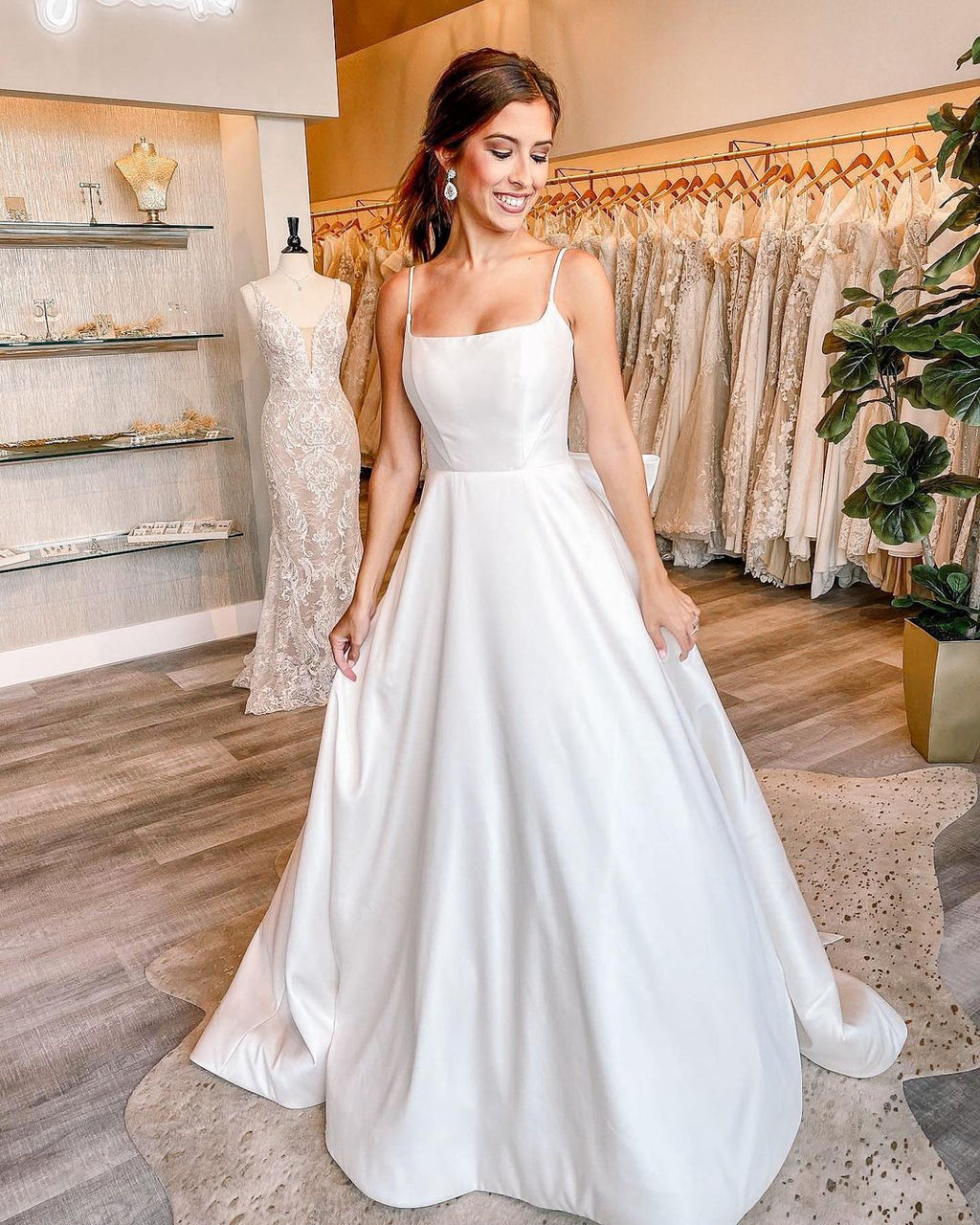 square neck wedding dress