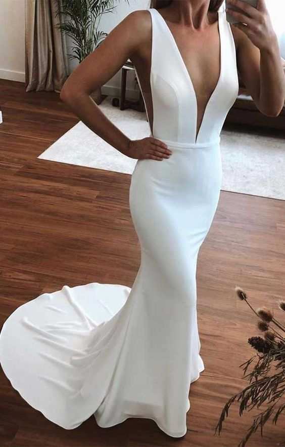 low-neck fitted wedding dress
