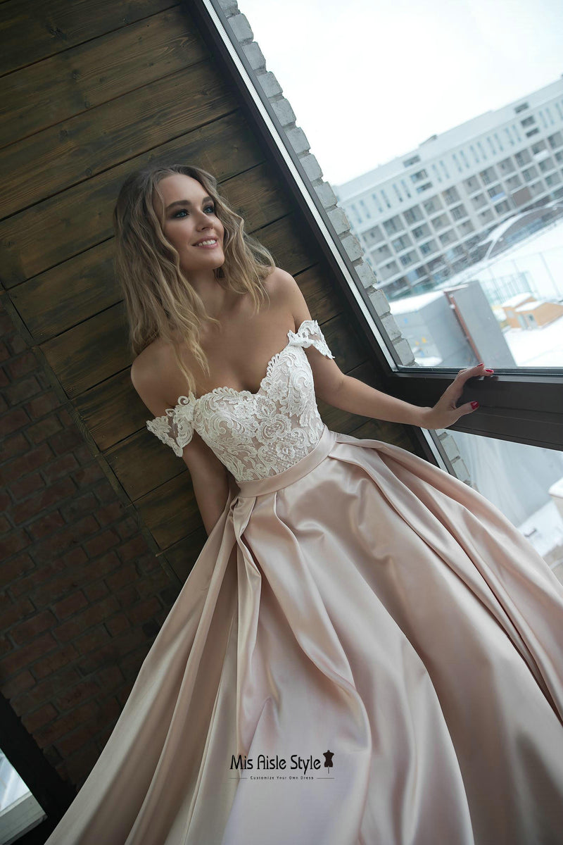 off shoulder sleeve wedding dress