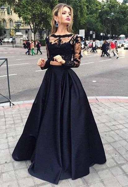 Full Length Black Lace Two-pieces Prom Dresses