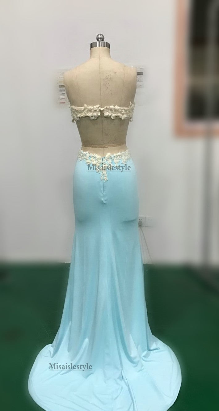 open back fitted prom dress