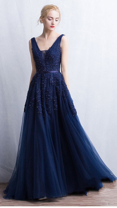 V-back Navy Blue Tulle and Lace Prom Dress