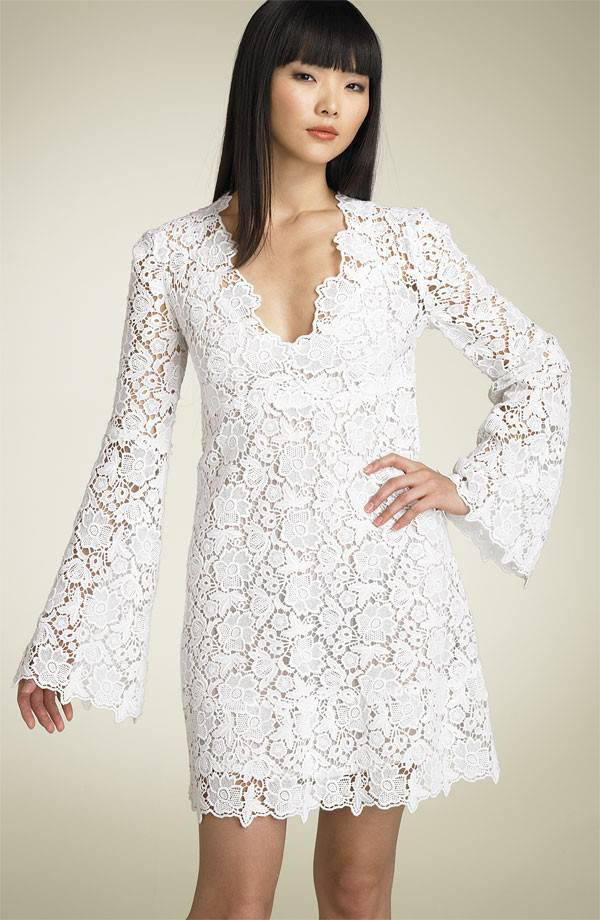 Short long sleeve lace bridal dress